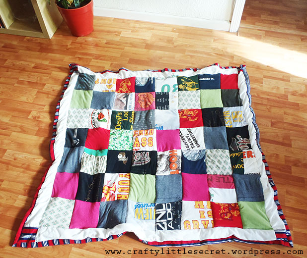 T shirt quilt finally done crafty little secret for How to make t shirt quilts easy