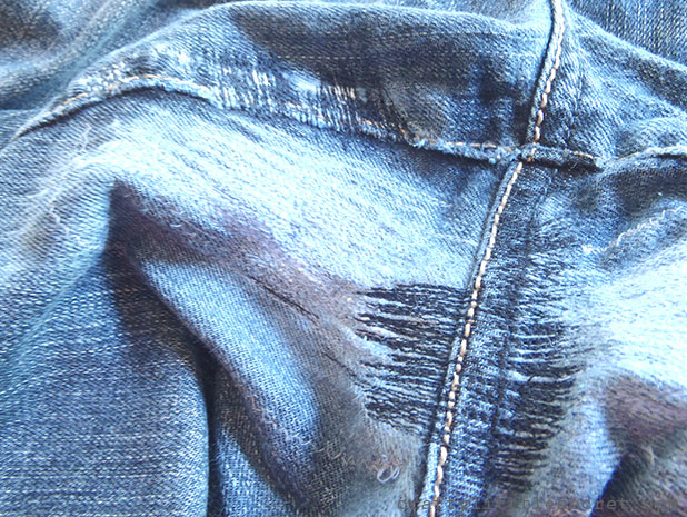 How to  mend jeans crotch hole
